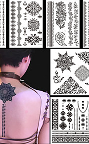 6PCS Black Fake Waterproof Tattoo Temporary Tattoo for Women Body Art Flower Necklace Jewelry Sticker Gift