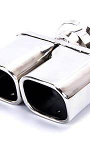 auto roestvrij staal 63 x 56mm dubbele uitlaat rolde uitlaat tip buis zilver toon