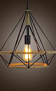 Rural Industrial Hemp Retro Style Wrought Iron Bird Cage Diamond Chandelier Creative Restaurant Lights LOFT