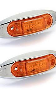 2x 3 førte vandtæt 0.5W side maker lys lampe gul for trailer lastbil båd