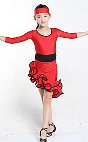 Latin Dance Dresses Children's Performance Spandex Draped 1 Piece Black / Fuchsia / Red