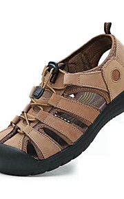 Men's Shoes Nappa Leather Outdoor / Casual Sandals Outdoor / Casual Sport Sandals Flat Heel Hollow-out Taupe