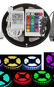 zdm 5m 300x5050 cms rgb bande LED et télécommande 24key et 5a eu / uk / us / alimentation au (AC110-240V)
