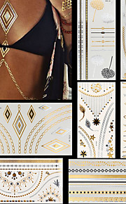 8pcs Gold Silver Necklace Ring Letters Stars Temporary Flash Metallic Tattoos Sticker Waterproof