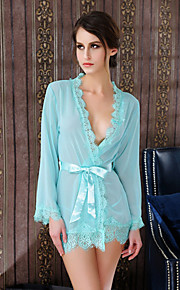 Women Sexy Lace Crochet Robes Nightwear,Chiffon / Polyester