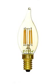 1 stk. NO E14 2W 4 COB 100-200 lm Varm hvit C35 Dimbar / Dekorativ LED-lysestakepærer AC 220-240 V