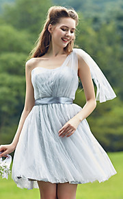 Short/Mini Tulle Bridesmaid Dress-Sage / Silver A-line Sweetheart