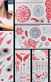 6pcs Red Silver Gold Feather Butterfly Totem Temporary Flash Metallic Tattoos Sticker Waterproof