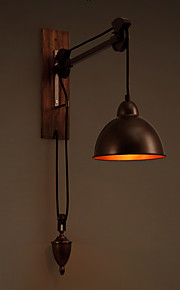 Industrial Retro Loft Wall Lamp Iron Pulley Spindle Light Coffee Shop / Bar Wood Wall Lamps