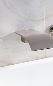 водопад ванной комнате раковина кран широко распространенный современный дизайн смеситель (никель щеткой отделка)