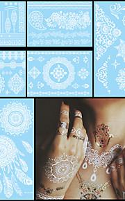6PCS Waterproof Tattoo Temporary White for Women Body Neck Art Flower Letter Jewelry Paste Tattoo Henna Sticker Wedding
