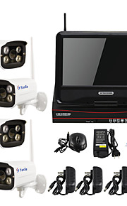 yanse® 10-inch draadloze plug and play hd 4-ch surveillance p2p 960p thuis bullet bewakingscamera nvr kit CCTV-systeem