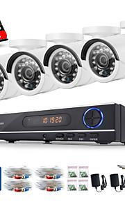 sannce® 720p AHD 8-kanals førte vedio CCTV sikkerhed dvr hjem overvågning kamerasystem 1TB hdd (hvid)