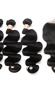 cierre de cordones de 5x5 con la onda brasileña virginal del cuerpo de haces de pelo con el pelo humano cierre de cordones 3 paquetes con