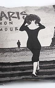 Linen Pillow Cover/Case ,  Woven Traditional/Classic Paris Lady Feature