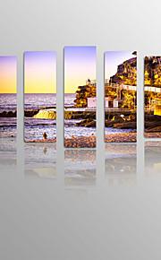 Coastal City Sundown on Canvas wood Framed 5 Panels Ready to hang for Living Decor