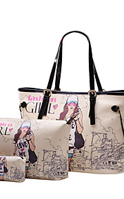 Women-Casual / Office & Career / Shopping-PU-Tote-Beige
