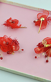 Women's Imitation Pearl / Fabric Headpiece-Wedding / Special Occasion Flowers / Hair Clip 4 Pieces