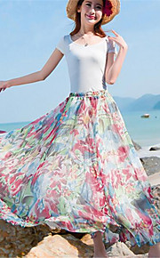 Women's Floral Blue Skirts,Boho Maxi