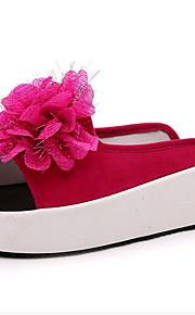 Черный / Красный / Белый-Женская обувь-Для прогулок / На каждый день-Дерматин-На платформе-Криперы-Сандалии / Тапочки