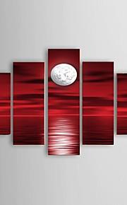 Håndmalte Landskap Moderne / Klassisk / Europeisk Stil,Fem Paneler Hang malte oljemaleri