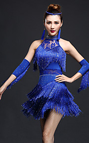 Latin Dance Dresses Women's Performance Chinlon / Nylon Irregular Rhinestones / Tassel(s) 3 Pieces Dnce Costumes
