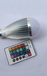 9W E26/E27 Круглые LED лампы A50 1 Высокомощный LED 450-600 lm RGB На пульте управления AC 85-265 V 1 шт.