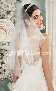 Two-tier-Lace Applique Edge-Angel cut/Waterfall-Shoulder Veils(Ivory,Embroidery)