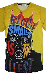 남성의 스포츠 티셔츠 짧은 소매 프린트 폴리에스테르