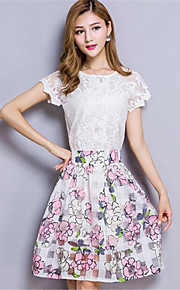 Women's Floral Blue / White / Black Skirts,Simple Knee-length