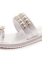 Серебристый / Золотистый-Женская обувь-Для праздника-Дерматин-На плоской подошве-На платформе / Обувь через палец-Сандалии
