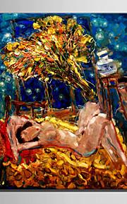 Peint à la main Personnage Modern / Style européen,Un Panneau Peinture à l'huile Hang-peint