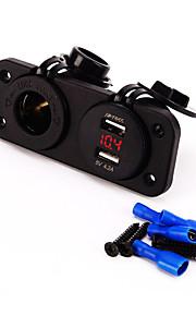 12v oplader stik motorcykel motorcykel bil cigarettænder stikkontakt stik og 4.2a dual usb voltmeter socket