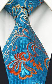 Men's 100% Silk  Tie Blue Floral  Business Necktie