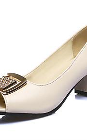 Черный / Розовый / Белый / Миндальный-Женская обувь-На каждый день / Для вечеринки / ужина-Полиуретан-На толстом каблуке-На каблуках / С