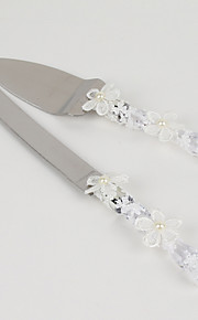 Wedding Accessories Flower Handle Cake Knife And Server Set with Lace Heart Rhinestone,White