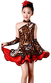 Latin Dance Dresses Children's Performance Spandex / Polyester Leopard Off Shoulder Dance Costumes