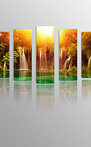 Waterfall under Sundown on Canvas wood Framed 5 Panels Ready to hang for Living Decor
