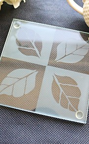 Fall in Love Leaf Glass Coaster Wedding Party Decoration (1pcs)
