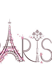 Wall Stickers Wall Decals Style Romantic Paris Tower PVC Wall Stickers