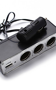 unviersal ny 3 vejs bil cigarettænder splitter oplader strømforsyning dc + USB port stik 12v-24v