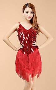 Latin Dance Dresses Women's Performance Spandex Sequins / Tassel(s) Dance Costume