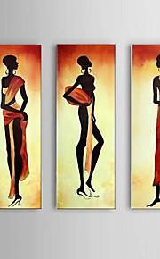 käsinmaalattu muotokuvan afrikkalainen naisten öljyvärimaalaus kankaalle 3kpl / asettaa seinälle rahtuakaan runko
