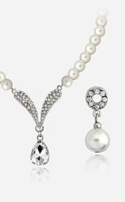 Set de Bijoux Collier / Boucles d'oreilles Collier de perles Mode euroaméricains Perle Alliage Forme Ronde1 Collier 1 Paire de Boucles