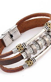 Punk Style Leather Bracelet Letter Pattern Men's Woven Metal Decoration Jewelry