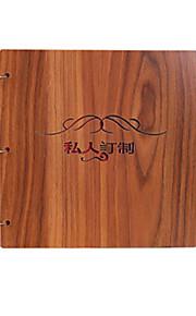 DIY 26 * 26 cm 12inch træ cover håndlavet scrapbog fotoalbum 30pcs sort papir til familie / baby / kærester / gaver