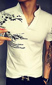 Katoen-Print-Heren-T-shirt-Informeel / Werk / Formeel / Sport-Korte mouw