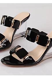 Women's Shoes Cowhide Wedge Heel Wedges / Peep Toe Sandals Wedding / Party & Evening / Dress Black / White