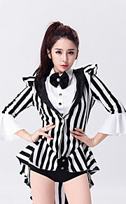 Jazz Leotards Outfits Women's Performance Cotton / Polyester Bow(s) Stripe Magician Dance Costumes Black