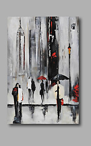 "Stretched (Ready to hang) Hand-Painted Oil Painting 36""x24"" Canvas Wall Art Modern Abstract Street City Scenery"